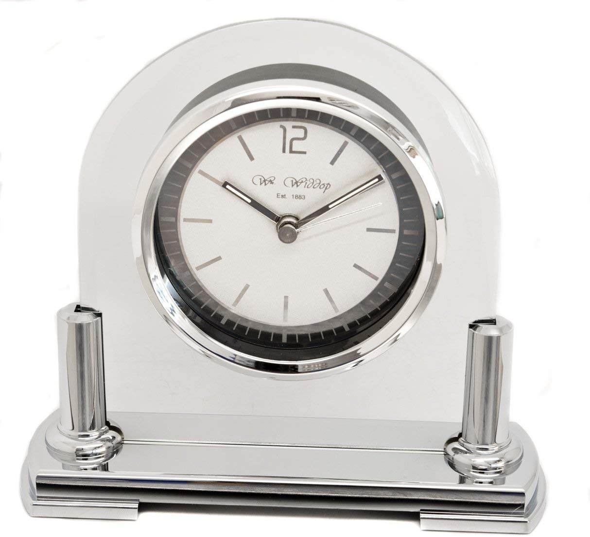 Personalised Two-Tone Silver and Glass Arched Mantel Clock