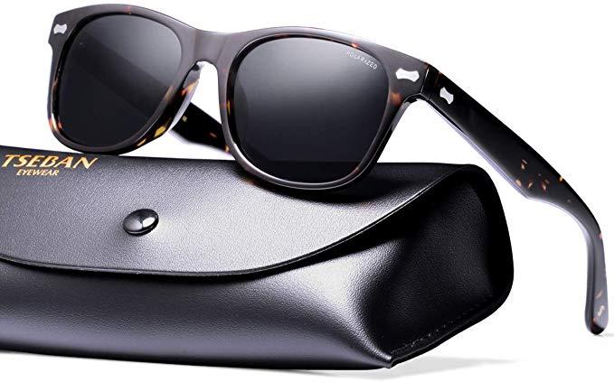 TSEBAN Vintage Mens Womens Sunglasses Polarised UV400 Protection Driving Glasses Acetate Frame